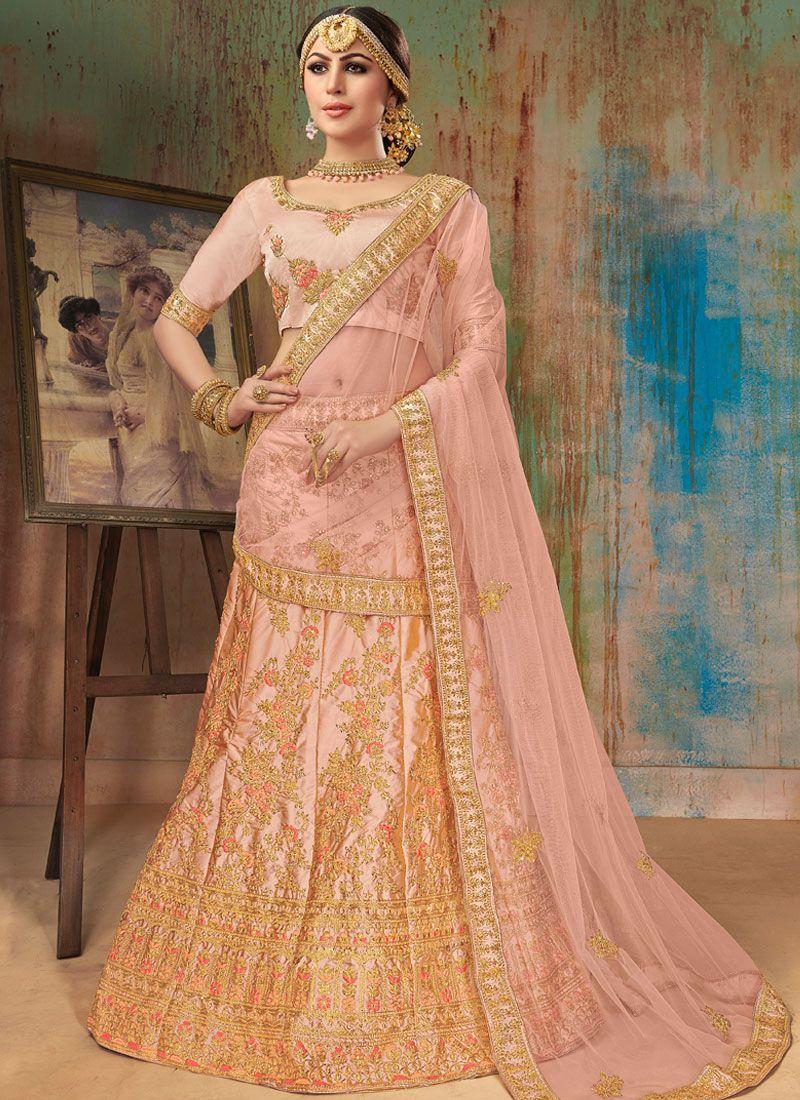 Satin Silk Embroidered Pink Designer Lehenga Choli