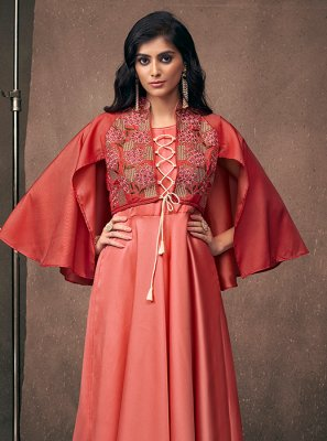 Satin Silk Embroidered Readymade Designer Gown in Pink