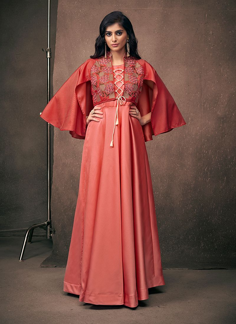 Satin Silk Embroidered Readymade Designer Gown in Red