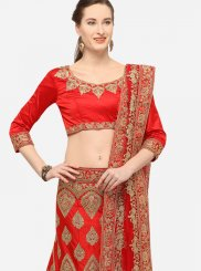 Satin Silk Embroidered Red Designer Lehenga Choli