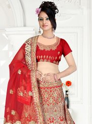 Satin Silk Embroidered Trendy Designer Lehenga Choli in Red