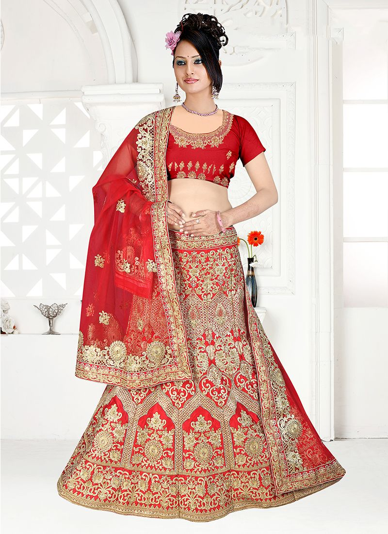 Satin Silk Embroidered Trendy Designer Lehenga Choli in Red