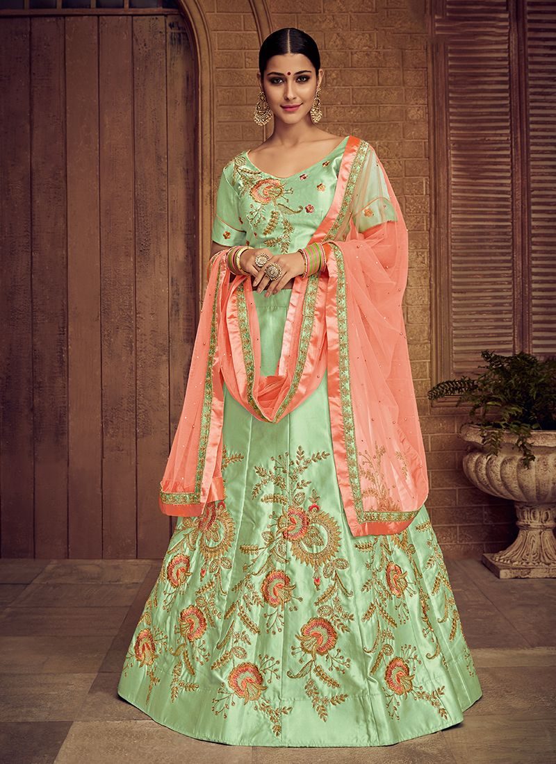 Satin Silk Embroidered Trendy Lehenga Choli in Green