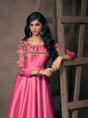 Satin Silk Hot Pink Embroidered Readymade Gown