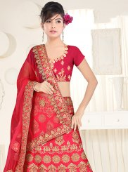 Satin Silk Hot Pink Lace Lehenga Choli