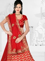 Satin Silk Lehenga Choli in Red