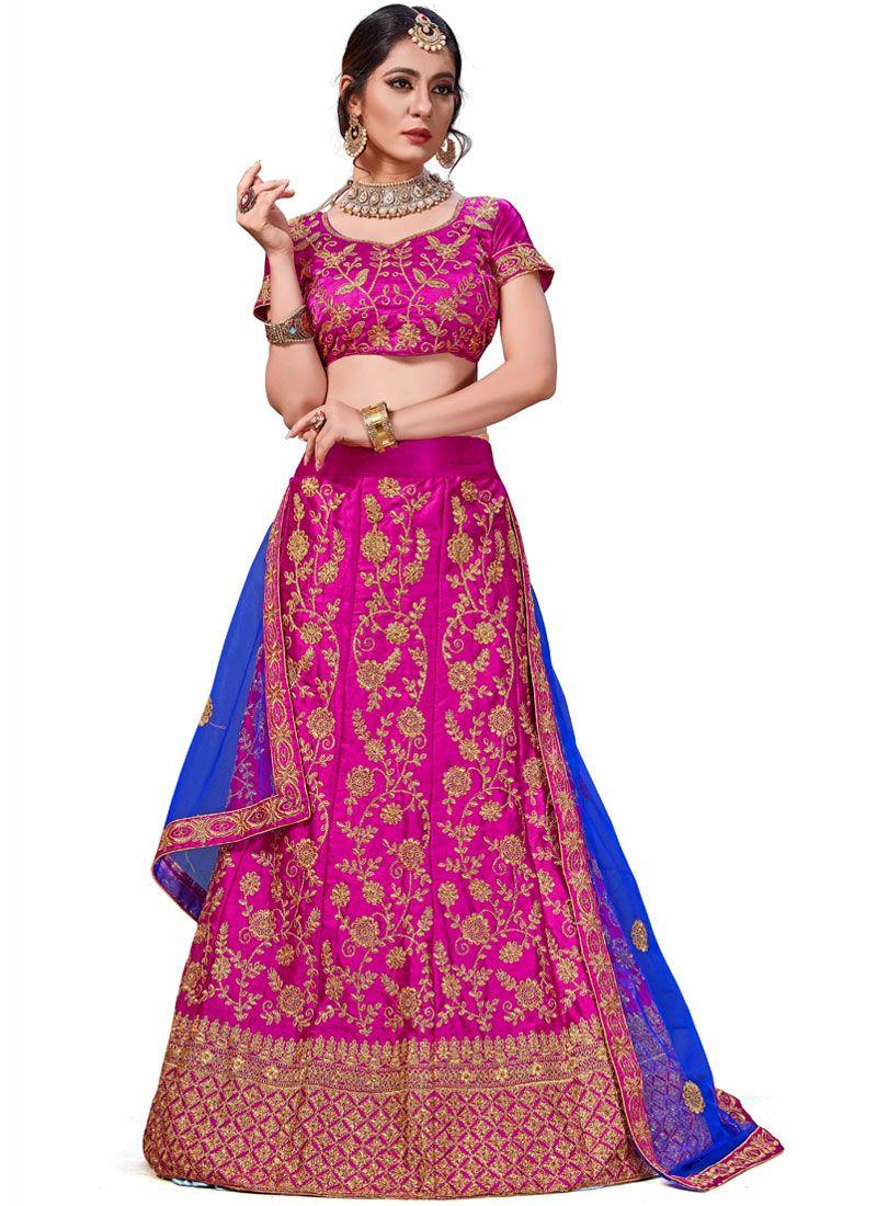 Satin Silk Magenta Trendy Lehenga Choli