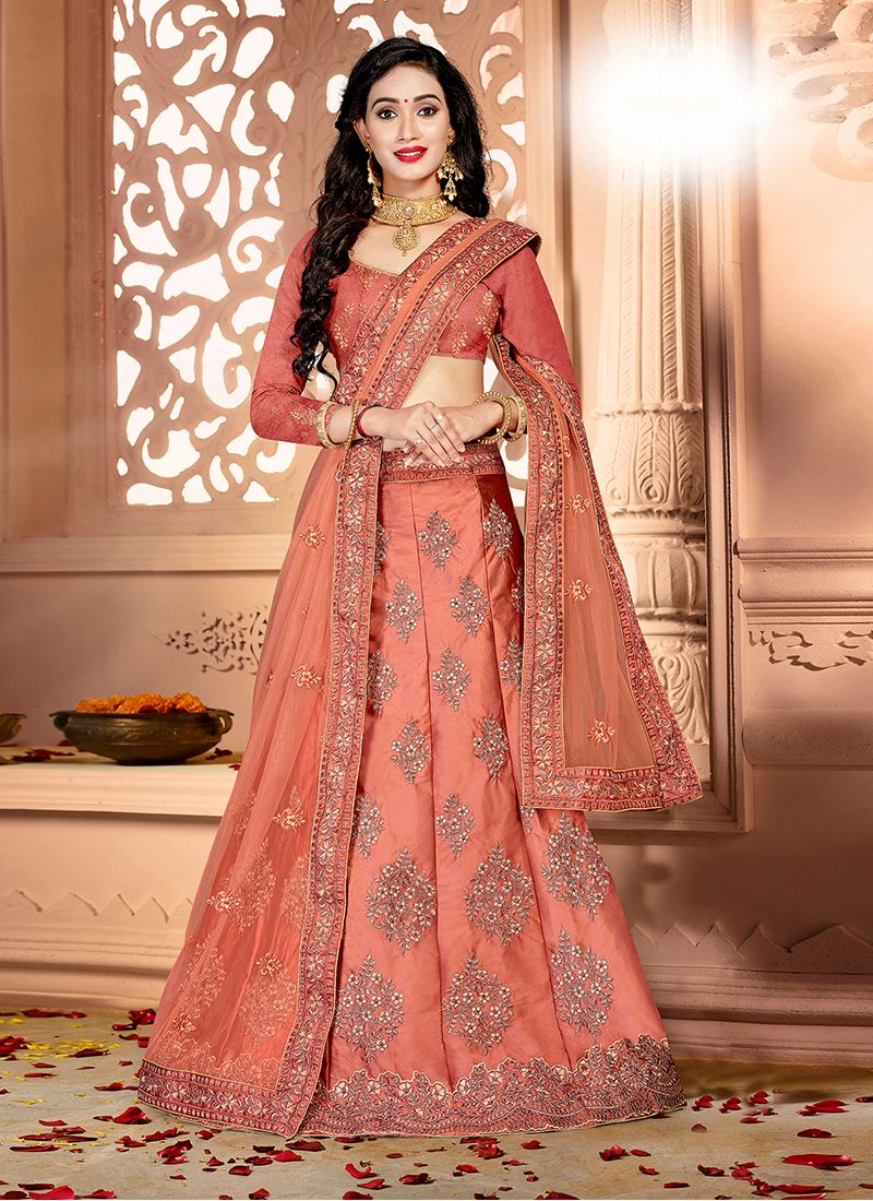 Satin Silk Party Designer Lehenga Saree