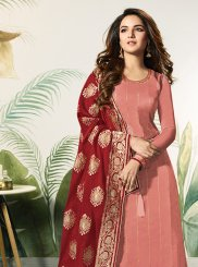 Satin Silk Peach and Red Embroidered Designer Palazzo Suit