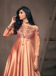 Satin Silk Peach Readymade Gown
