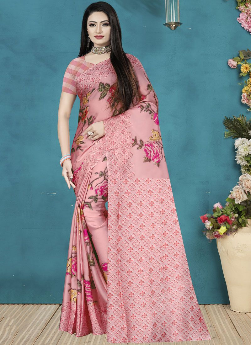 Satin Silk Pink Classic Saree