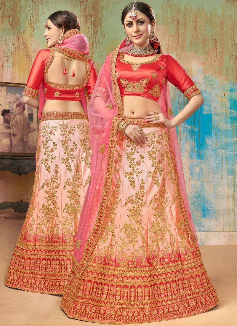 Satin Silk Pink Designer Lehenga Choli