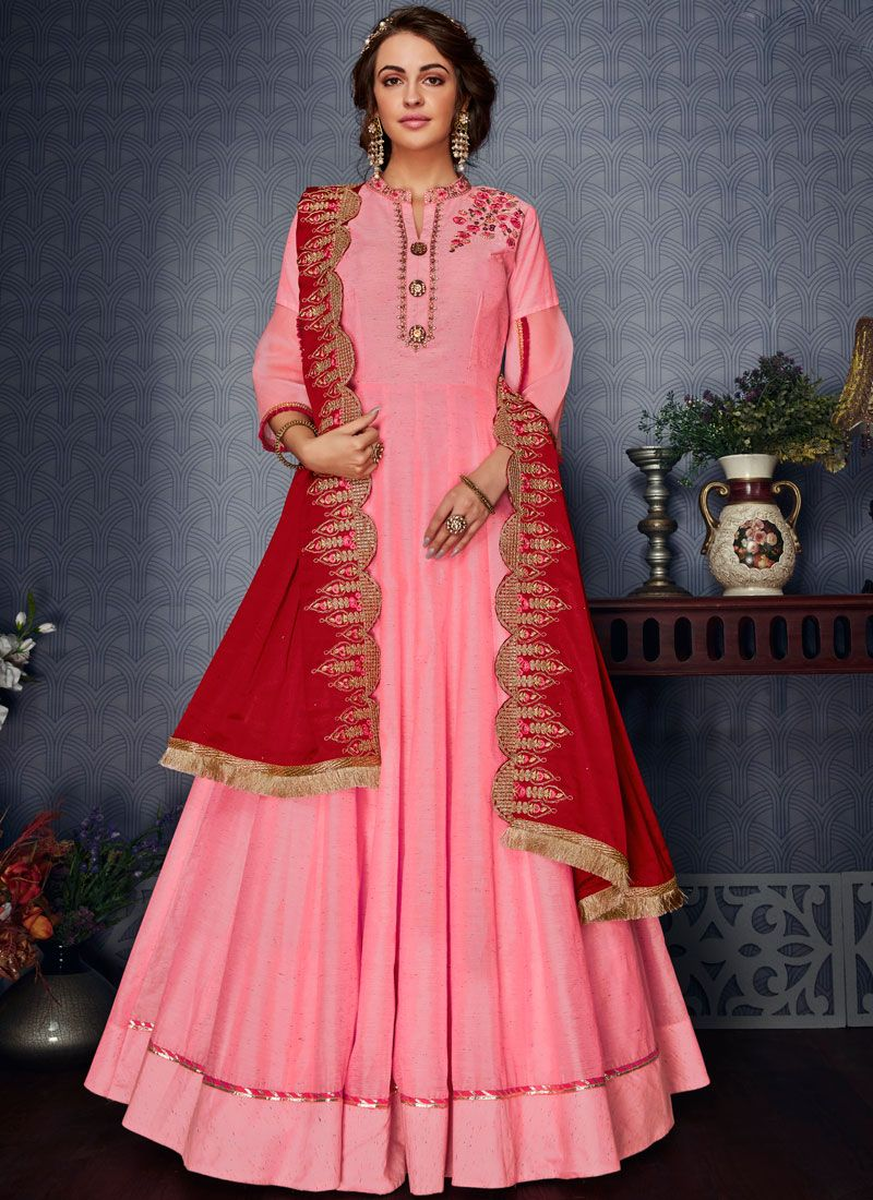 Satin Silk Readymade Gown  in Pink