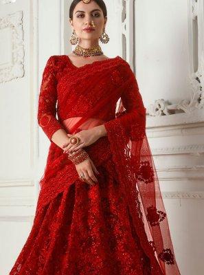 Satin Silk Reception Designer A Line Lehenga Choli