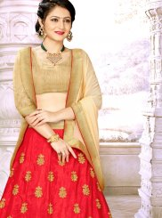 Satin Silk Red A Line Lehenga Choli