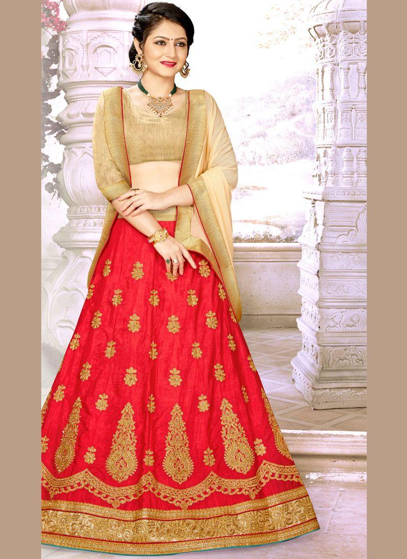 Satin Silk Red A Line Lehenga Choli
