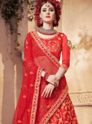 Satin Silk Red Designer Lehenga Choli