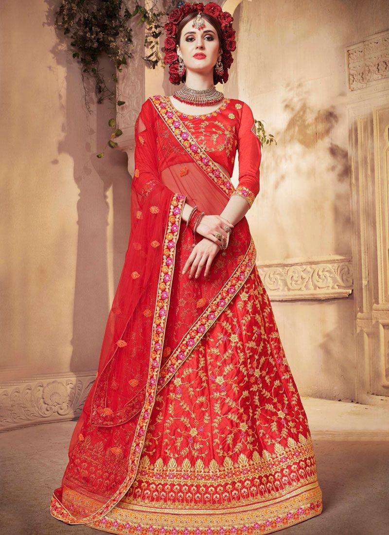 Satin Silk Red Designer Lehenga Choli