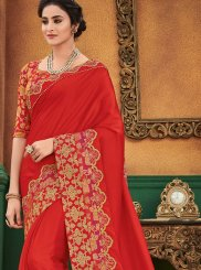 Satin Silk Red Designer Traditional Saree