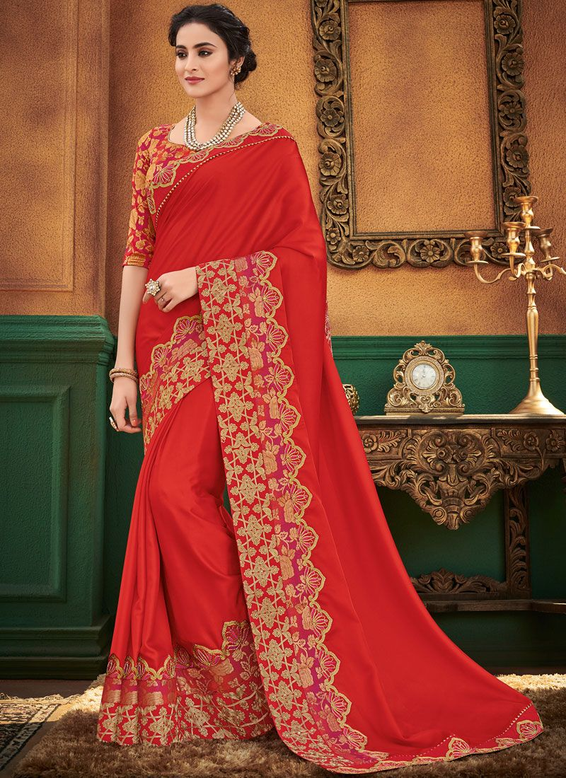 Satin Silk Red Designer Traditional Saree