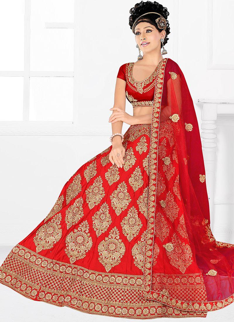 Satin Silk Red Embroidered Trendy Designer Lehenga Choli