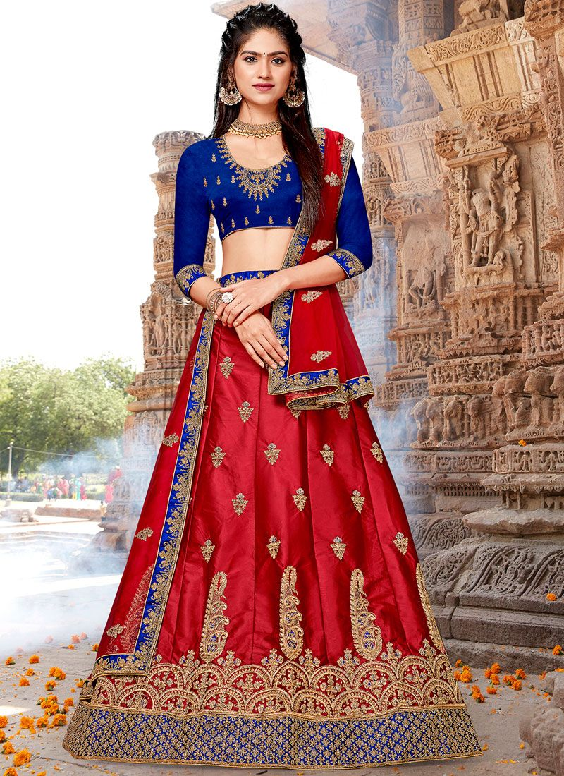 Satin Silk Red Embroidered Trendy Designer Lehenga Choli