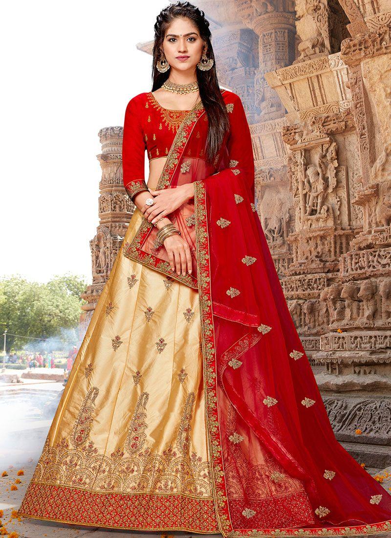 Satin Silk Resham Beige Designer Lehenga Choli