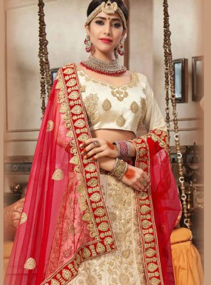 Satin Silk Resham Lehenga Choli in Beige