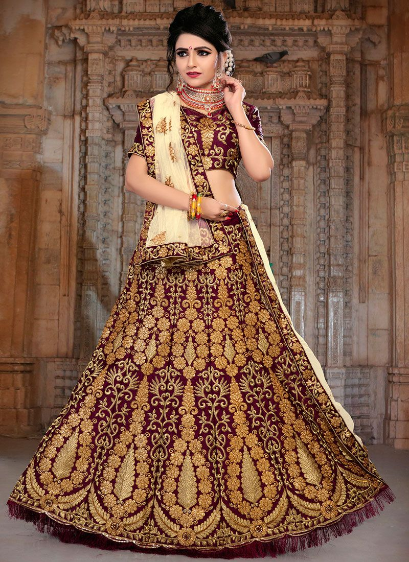 3ae100b715 Buy Satin Silk Resham Wine Lehenga Choli Online -
