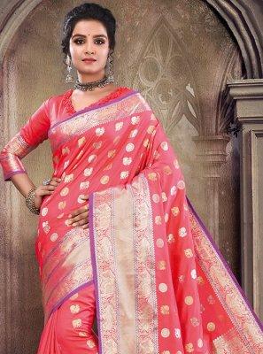 Satin Silk Rose Pink Weaving Traditional Saree
