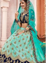 Satin Silk Sea Green Patch Border Lehenga Choli