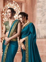 Satin Silk Teal Designer Traditional Saree