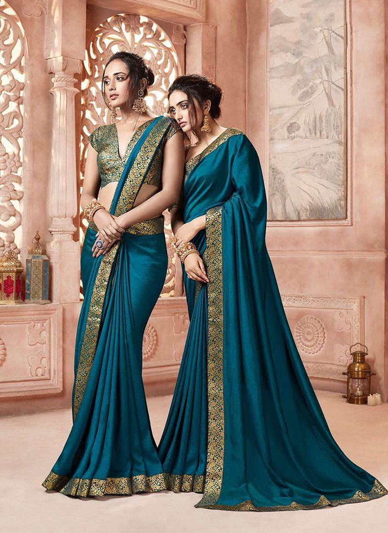 Satin Silk Teal Designer Traditional Saree