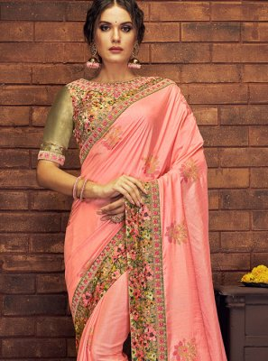 Satin Silk Traditional Saree in Pink