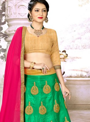 Satin Silk Trendy Lehenga Choli in Green