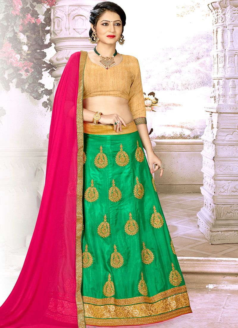 Satin Silk Trendy Lehenga Choli in Green
