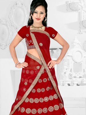 Satin Silk Trendy Lehenga Choli in Red