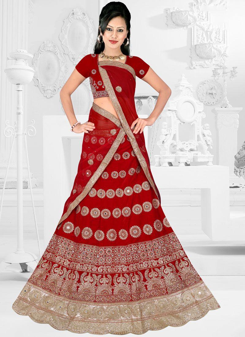 Satin Silk Trendy Lehenga Choli in Red