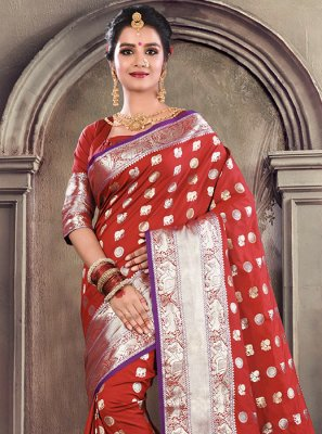 Satin Silk Weaving Maroon Designer Traditional Saree