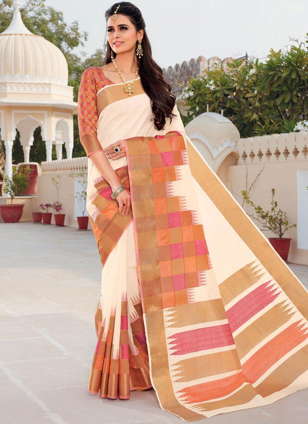 Satin Silk Weaving White Traditional Designer Saree