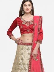 Satin Silk Zari Beige Trendy Lehenga Choli