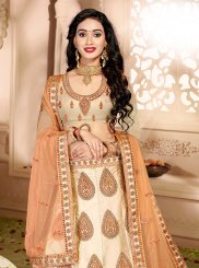 Satin Silk Zari Cream Trendy Designer Lehenga Choli