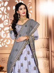 Satin Silk Zari Grey Trendy A Line Lehenga Choli