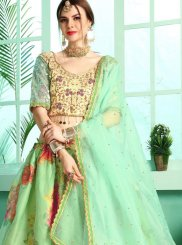 Satin Stone Work Green Designer Lehenga Choli
