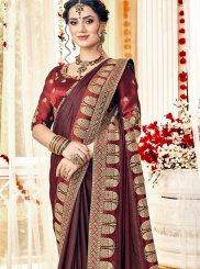 Satin Trendy Saree in Maroon