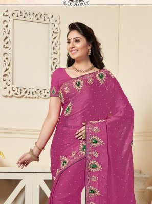 Satin Wine Designer Traditional Saree