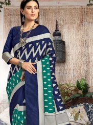 Sea Green Art Silk Abstract Print Traditional Designer Saree