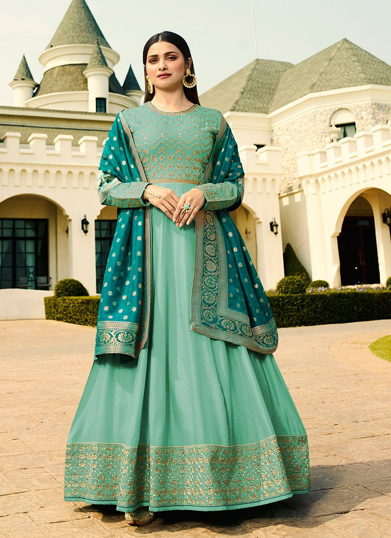 Sea Green Art Silk Anarkali Salwar Suit