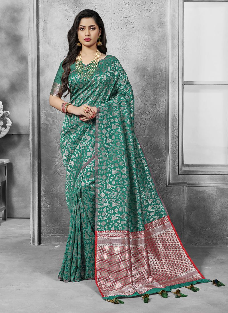 Sea Green Art Silk Ceremonial Designer Traditional Saree