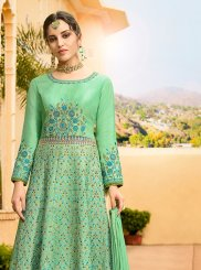 Sea Green Art Silk Ceremonial Floor Length Anarkali Suit